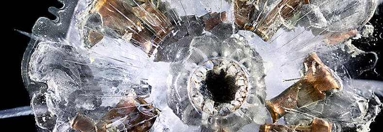 Bullet shatters in ballistic glass