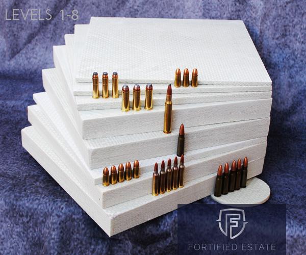 All UL 752 ballistic fiberglass levels stacked