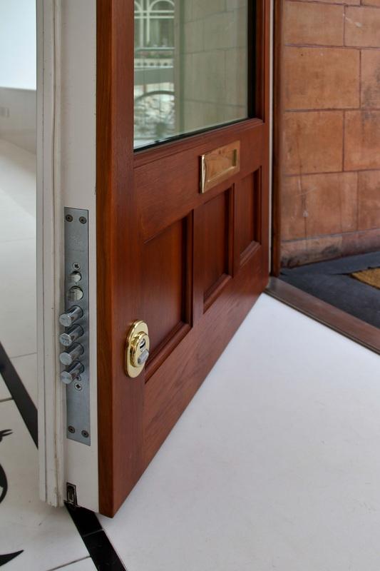 Secure door made from mahogany wood