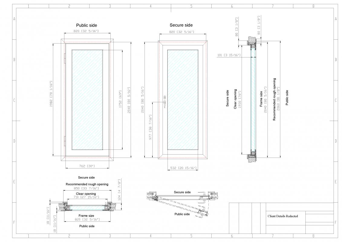 Example shop drawings of casement ballistic window